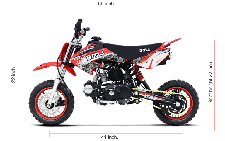 BMS PRO 70 SEMI DIRT BIKE DIMENSIONS