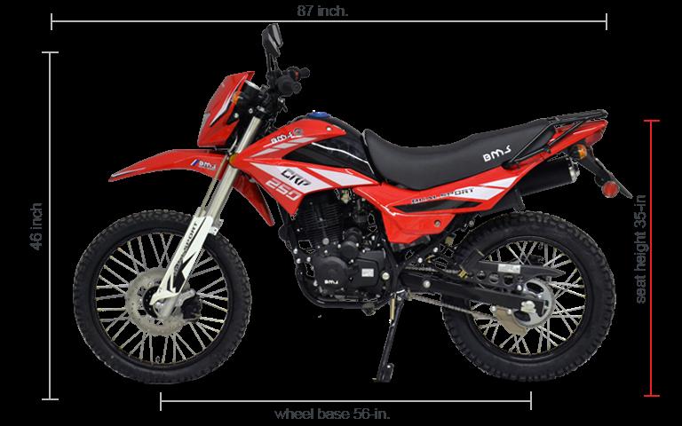 BMS Enduro 250CRP Dual Sport DIMENSIONS