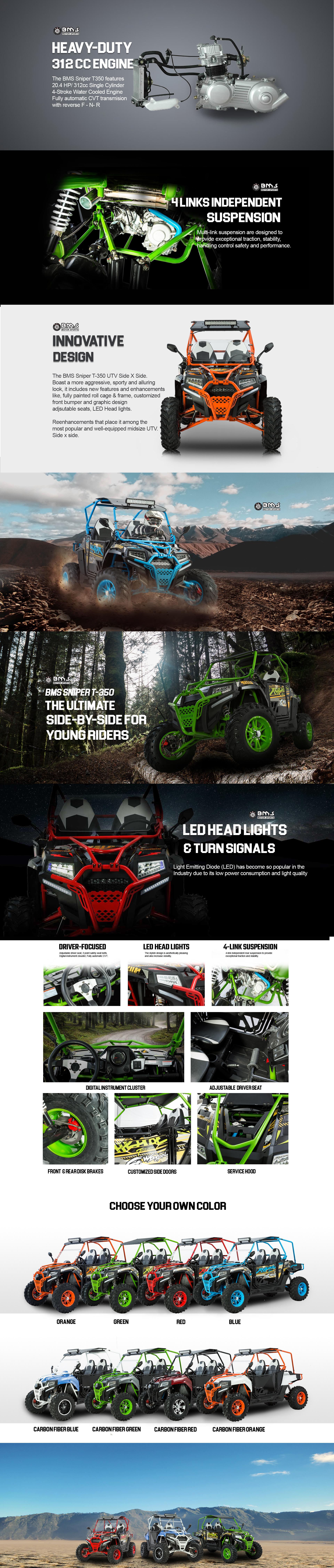 SNIPER T 350 BMS 311cc Sport UTV Specifications